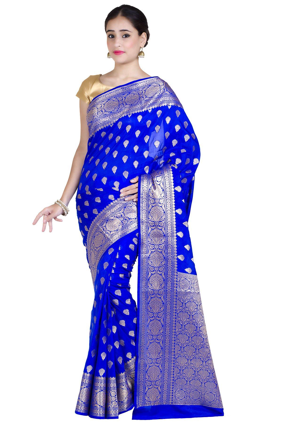 Chandrakala Women's Royal Blue Kataan Silk Banarasi Saree