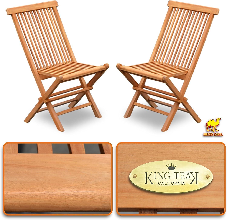Strong Camel Golden Teak Wood Folding Chair Outdoor Patio Garden Yard Folding Seat Dining Chair 2 Piece