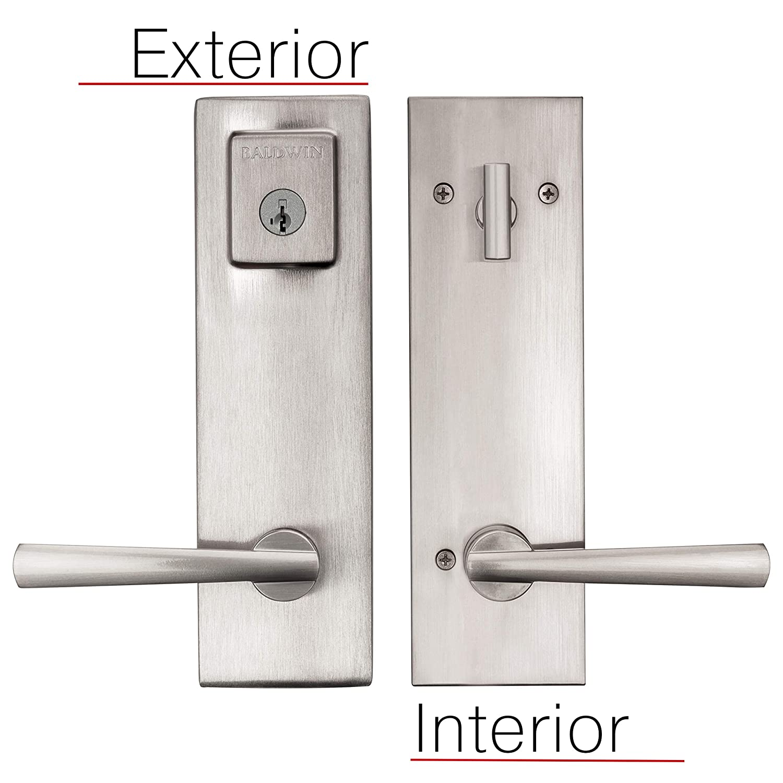 Baldwin Spyglass Single Cylinder Front Door Handleset Featuring SmartKey Security in Satin Nickel Prestige Series with a Modern Contemporary Slim Door Handleset and Square Lever