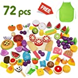 Cutting & Cooking Set, Wooden Kitchen Kids Toy, Educational Toy, Pretend Play 72pcs Play Food Assortment With Knife, Magnetic Fruit, Vegetable, Fish, Meat and Cutting Board - iPlay, iLearn