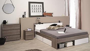 Parisot Schlafzimmer Set U0026quot;Mostu0026quot; Eiche Silber/Weiß