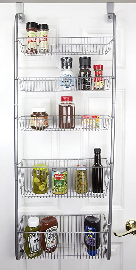 Amazon Com Home Basics Over The Door Pantry Spice And Jar Rack Organizer 5 Tier Storage For Multipurpose Use For Kitchen Cabinets Bedrooms And Playrooms Home Kitchen