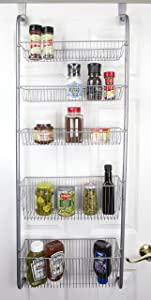 Home Basics Over the Door Pantry Spice and Jar Rack Organizer 5-Tier Storage for Multipurpose Use For Kitchen Cabinets, Bedrooms and Playrooms
