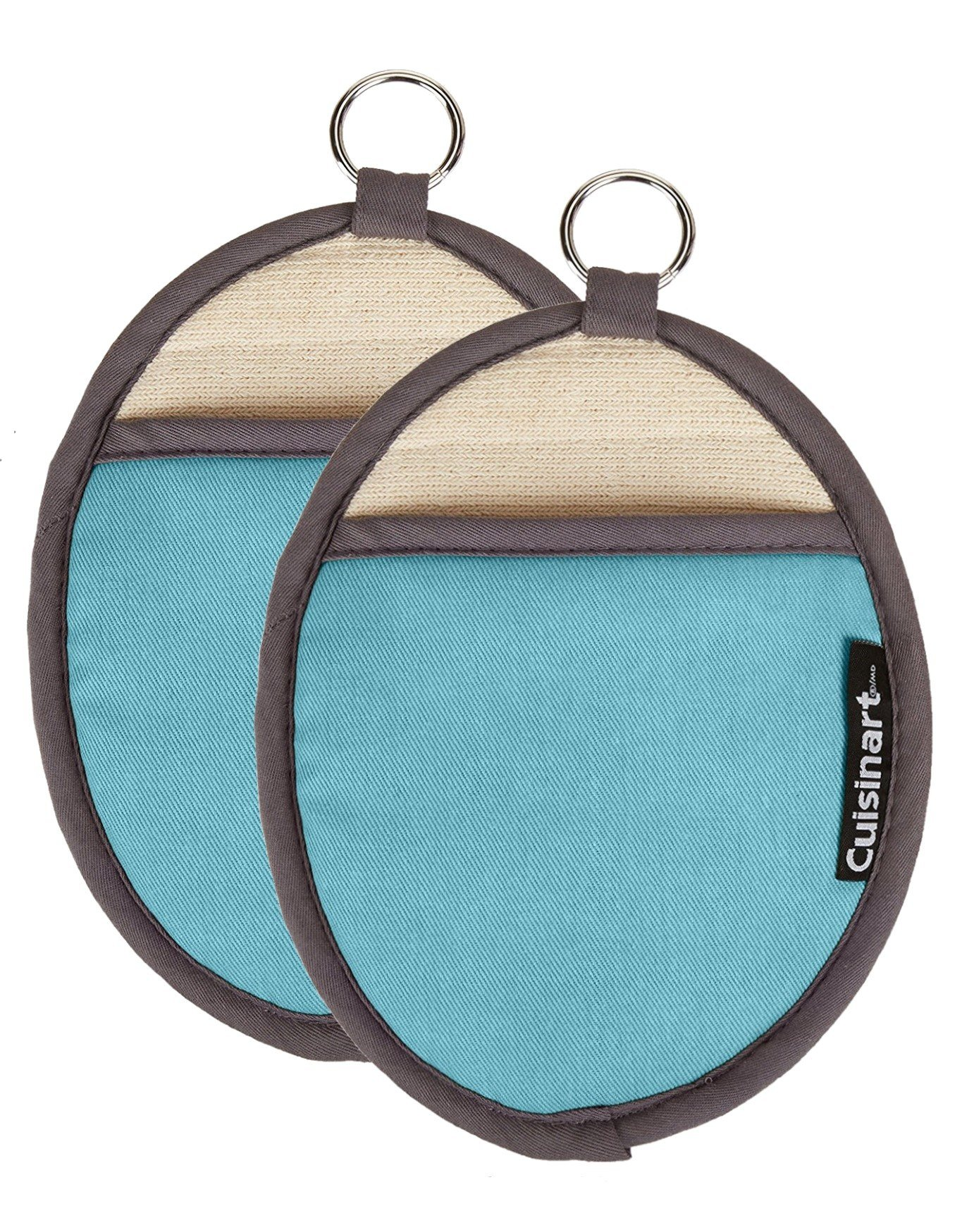 Cuisinart Oval Pot Holder/Oven Mitt w/ Pocket & Heat Resistant Non-Slip Silicone Grip, Aqua- 2pk
