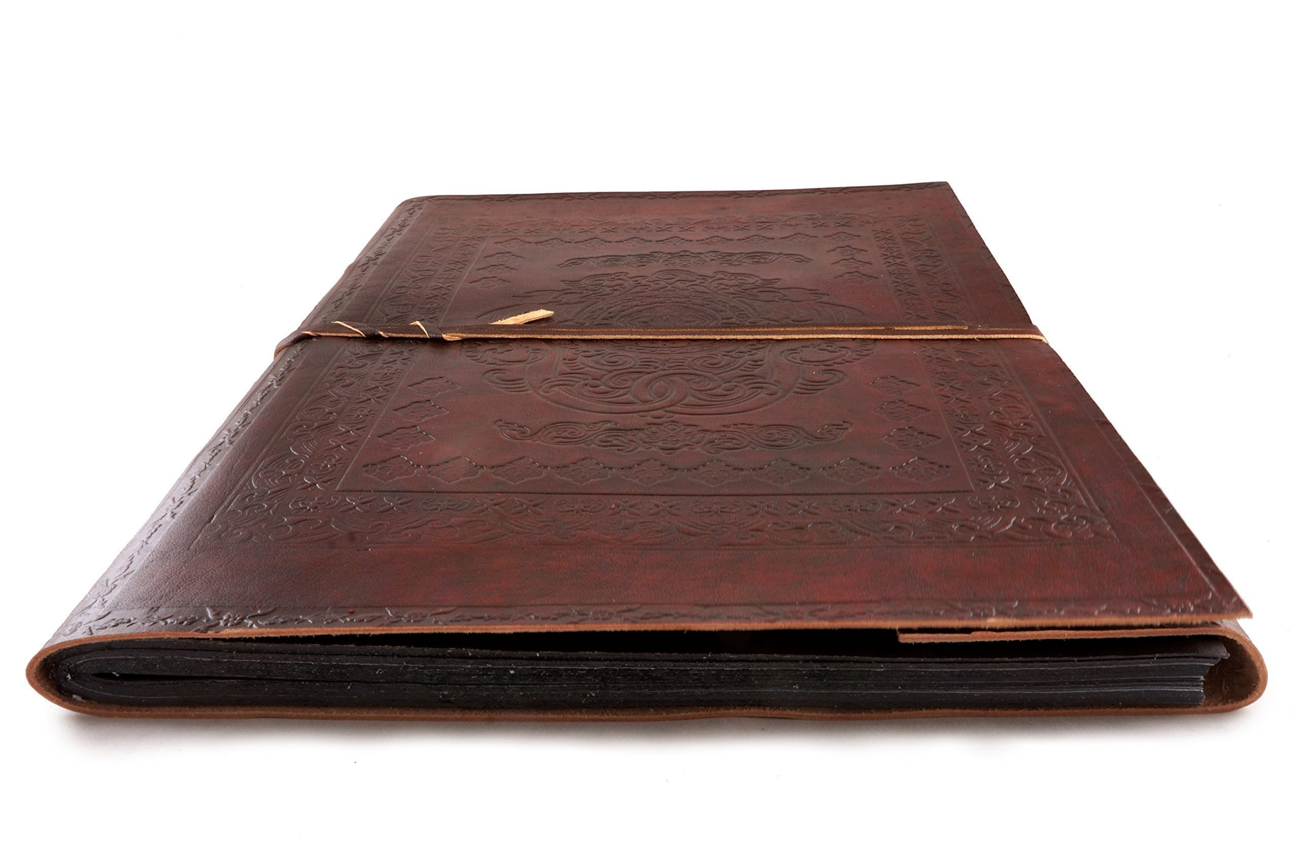 Giant Leather Photo Album Vintage Classic Rustic Embossed 16'' x 11'' Handmade Paper 40 Sheets