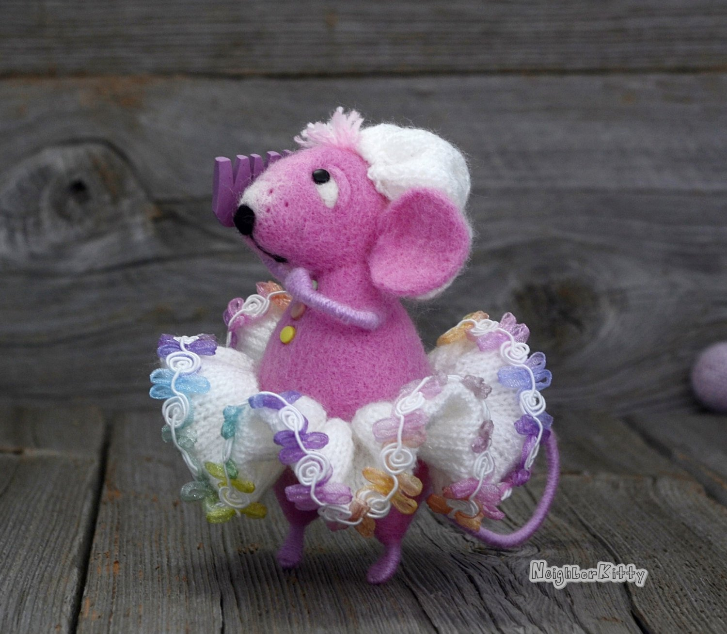 Pink Mouse with comb, Soft doll, Needle felting, Knitted animal, Waldorf, Figurine, Home Nursery decoration, Gift, NeighborKitty, Wool rat