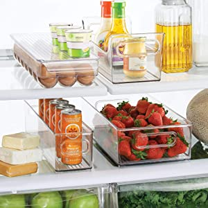 mDesign Plastic Kitchen Pantry Cabinet, Refrigerator, Freezer Food Storage Organizer Bin - for Fruit, Drinks, Snacks, Eggs, Pasta - Combo Includes Bins, Condiment Caddy, Egg Holder - Set of 4 - Clear