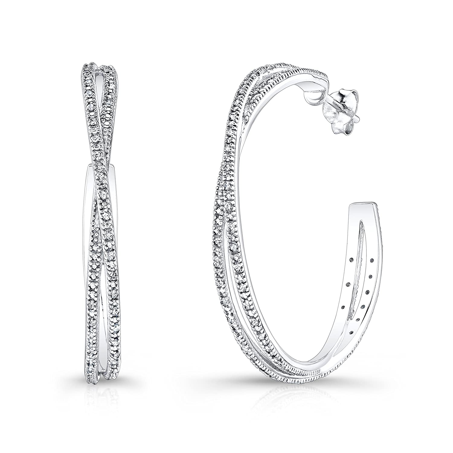 3670a577e Victoria Kay 1/2ct Diamond Criss-Cross Hoop Earrings in Sterling Silver  (J-K, I2-I3)