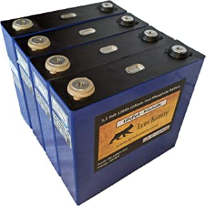 Lynx Lithium Iron Phosphate LiFePO4 Rechargeable Battery 12v 120Ah Prismatic Cell (Set of 4-3.2V Cells) with Bus Bars and Lugs