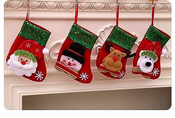 Dream Loom Pequeña Medias de Navidad, Un Conjunto de 4 Patrón de Lentejuelas Decorativas Navidad Regalo Bolsa Calcetines (Rojo): Amazon.es: Hogar