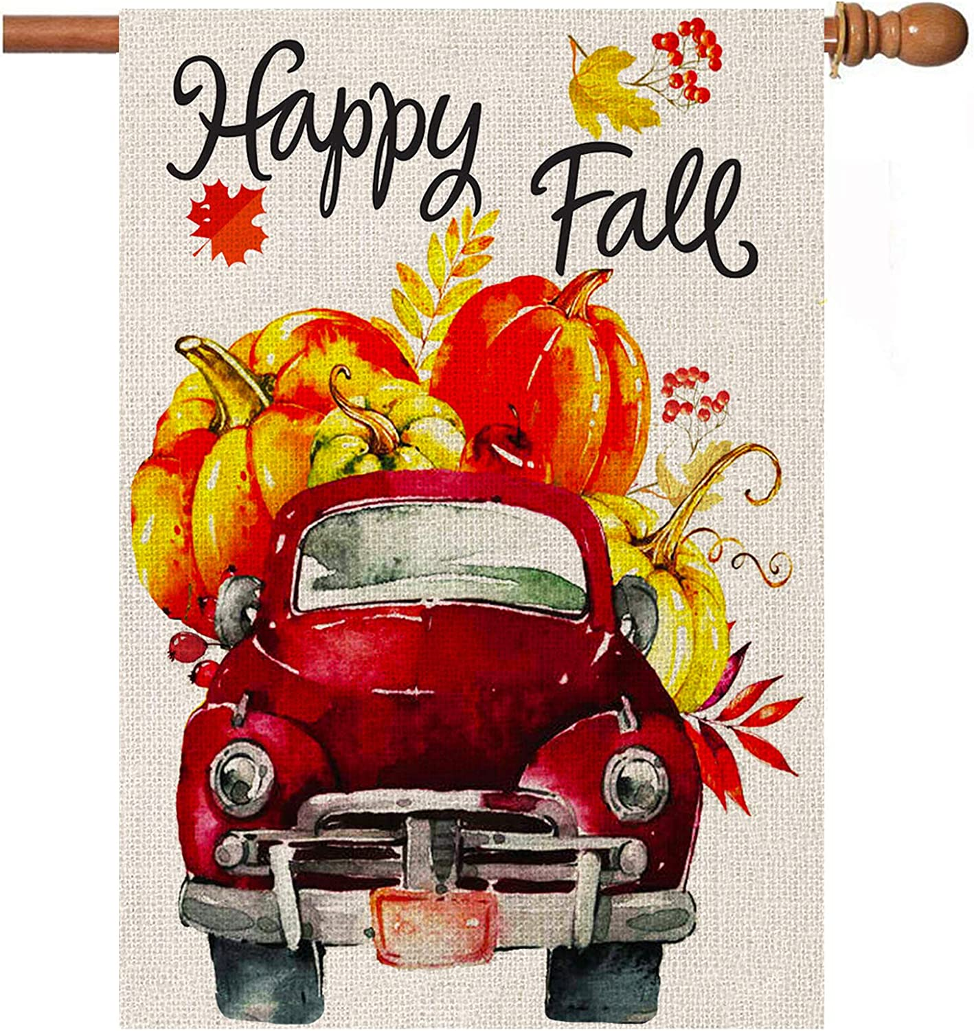 Welcome Fall Thanksgiving Garden Flag, Pumpkin Car Large Autumn House Yard Flag Vertical 28 x 40 Inch Double-sided Burlap Paddock Outdoor Decoration