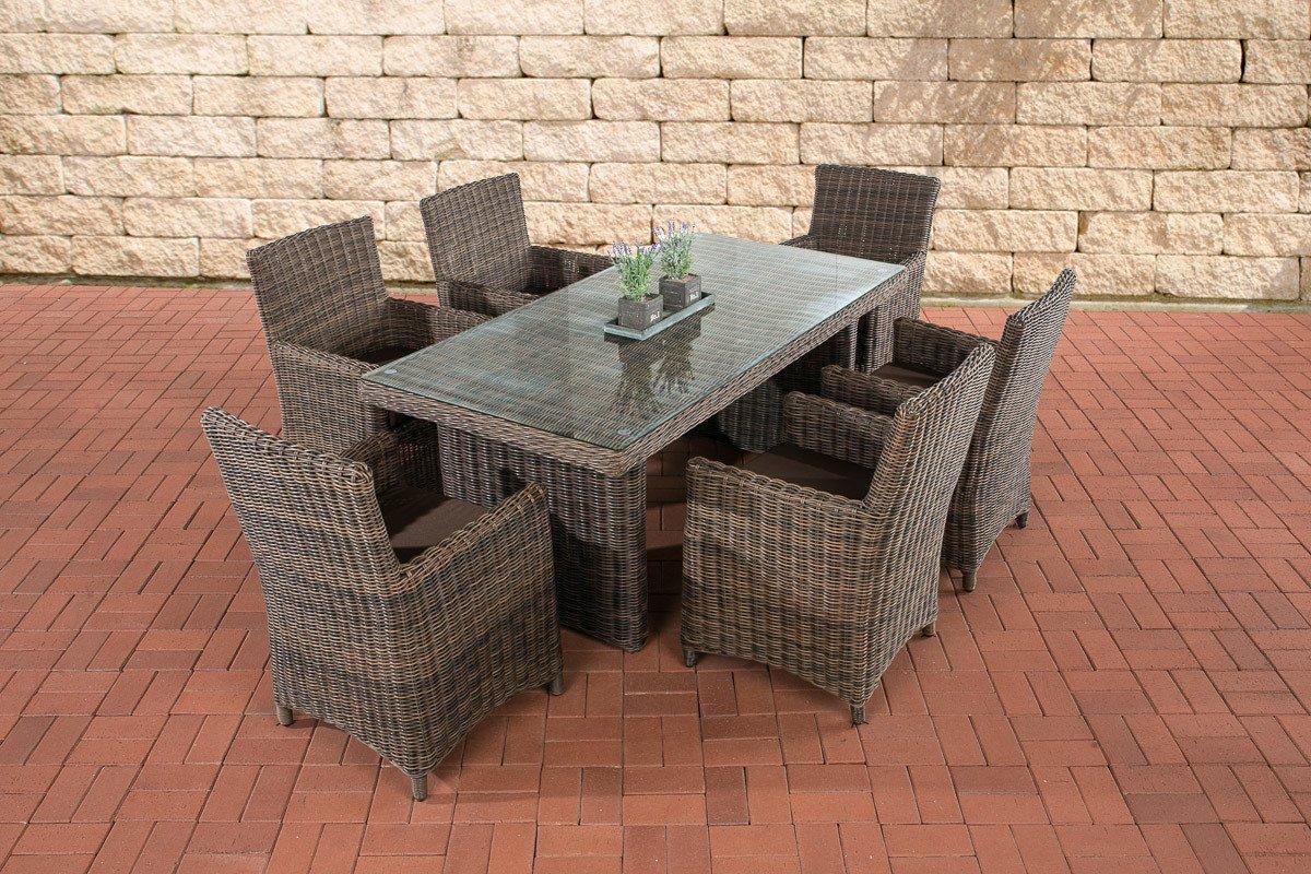 CLP Polyrattan Sitzgruppe FONTANA, braun-meliert, (6 Stühle mit Tisch 180 x 90 cm) INKL. bequemen Sitzkissen, Premiumqualität: 5 mm Rund-Rattan braun-meliert, Bezug: Terrabraun