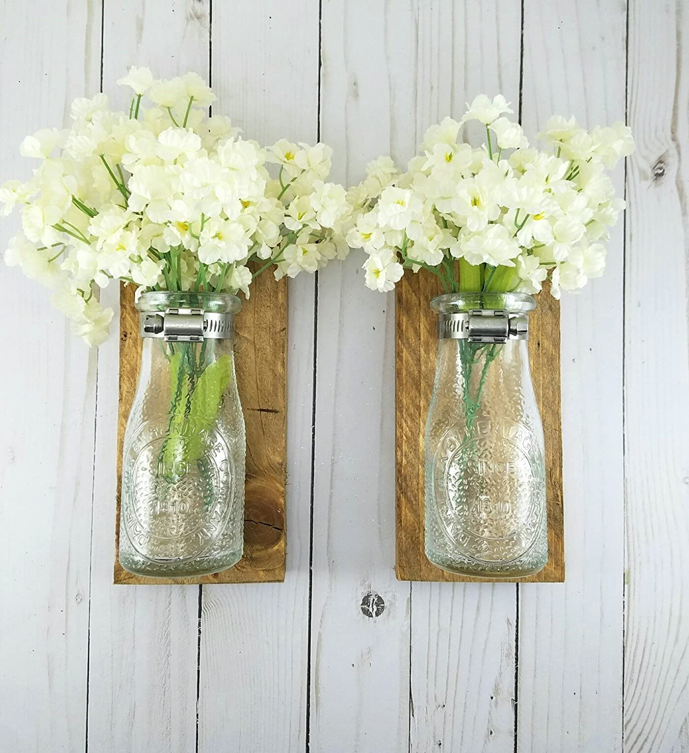 Amazon reclaimed wood wall decor dairy bottle flower holder amazon reclaimed wood wall decor dairy bottle flower holder milk bottle bud vase wall vase farmhouse home decor bathroom wall decor handmade reviewsmspy
