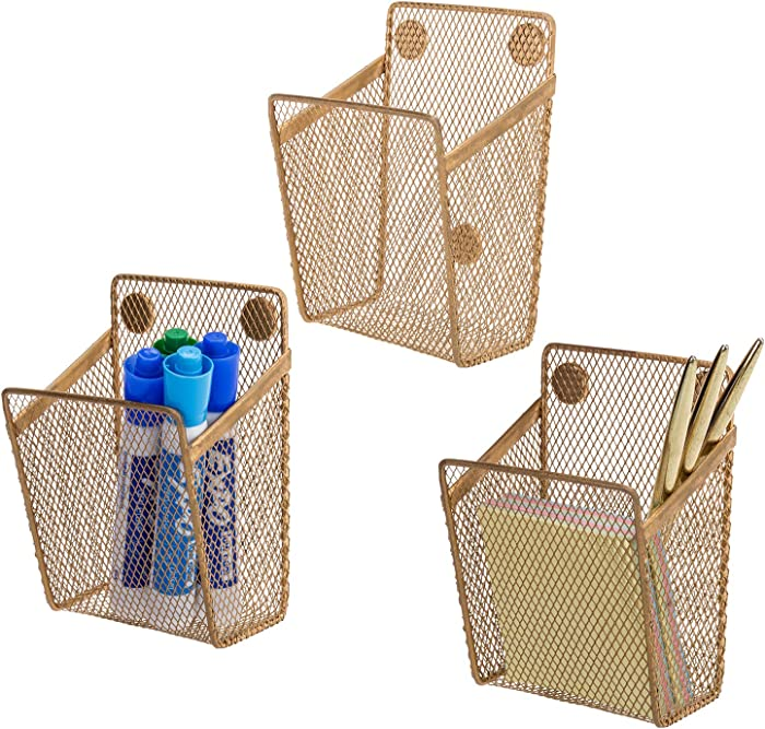 MyGift Antique Gold Tone Metal Mesh Magnetic Office Supply Organizer Baskets, Set of 3