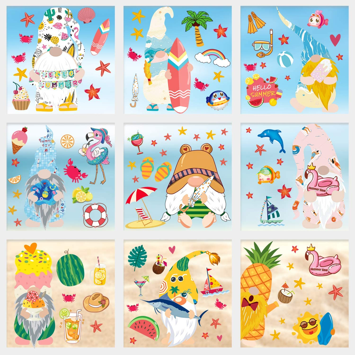 Adurself 103PCS Summer Gnome Window Clings Hawaii Pineapple Beach Tropical Window Decals Stickers for Pool Luau Hawaiian Party Home Kitchen Office Fridge Decorations (9 Sheets)