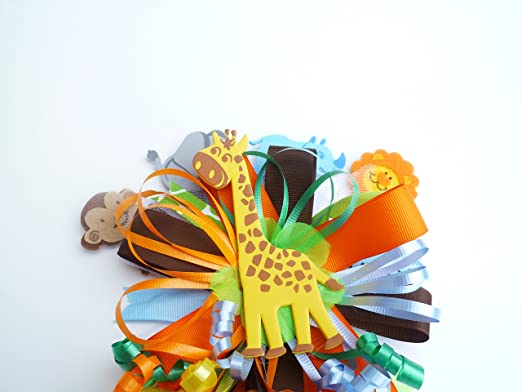 Amazon.com: Safari Jungle Book Themed Baby Shower Birthday Corsage For Mom  Monkey Baby Shower Corsage (Orange, Brown, Lime Green,Blue Multicolor   Round With ...