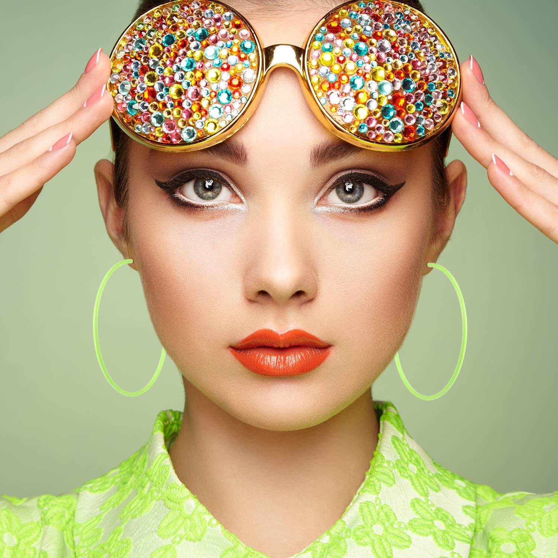 Boucles dOreilles Carr/és 3 Paires Boucles dOreilles Neon Retro Fashion de Femme pour F/ête des Ann/ées 80 ou Soir/ée Costume R/étro