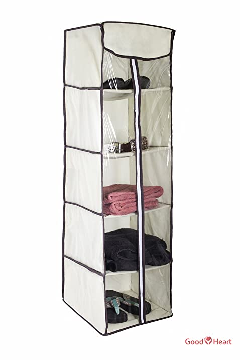 5 Shelves Hanging Closet Organizer U2013 Collapsible Hanging Accessory Shelves  Organizer For Clothes Sweater Accessories