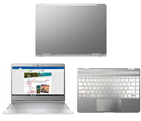 446bc012f551 Silver Brushed Aluminum skin decal wrap skin case for HP Spectre x360  AC023dx AC013DX AC033DX 13.3
