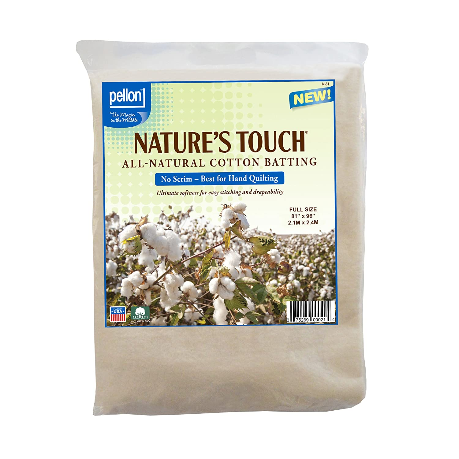Pellon N-81 Nature's Touch 100% Natural Cotton Batting, No Scrim - Full 81 X 96