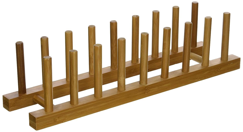"Lipper International 887 Bamboo Wood Plate Rack and Pot Lid Holder, 15-1/4"" x 4-3/8"" x 4"""