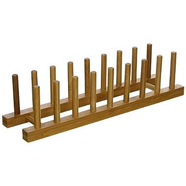Lipper International 887 Bamboo Wood Plate Rack and Pot Lid Holder, 15-3/8  x 4-3/8  x 4