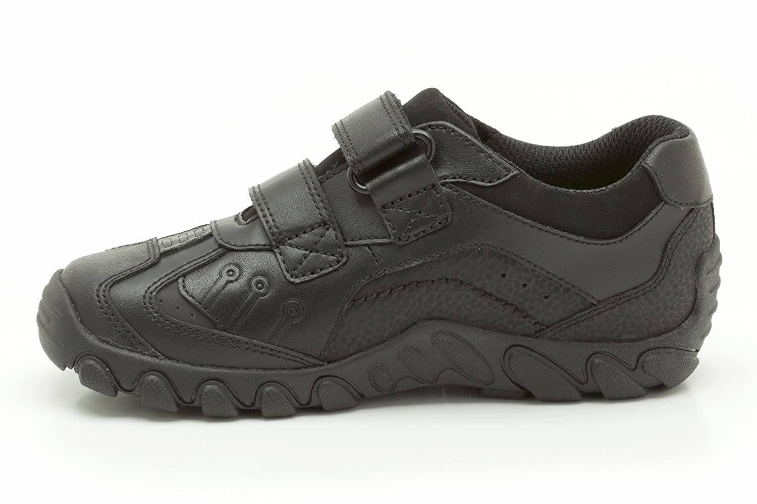 84bfc15ea6a0 Clarks Boys School Jack Shine Inf Coated Leather Shoes In Black Narrow Fit  Size 10  Amazon.co.uk  Shoes   Bags