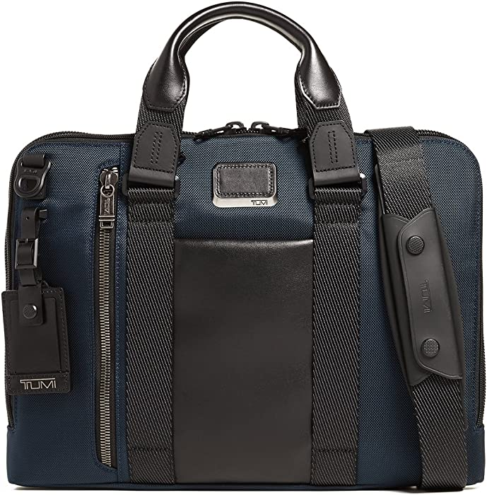TUMI - Alpha Bravo Aviano Laptop Slim Brief Briefcase - 15 Inch Computer Bag for Men and Women - Navy