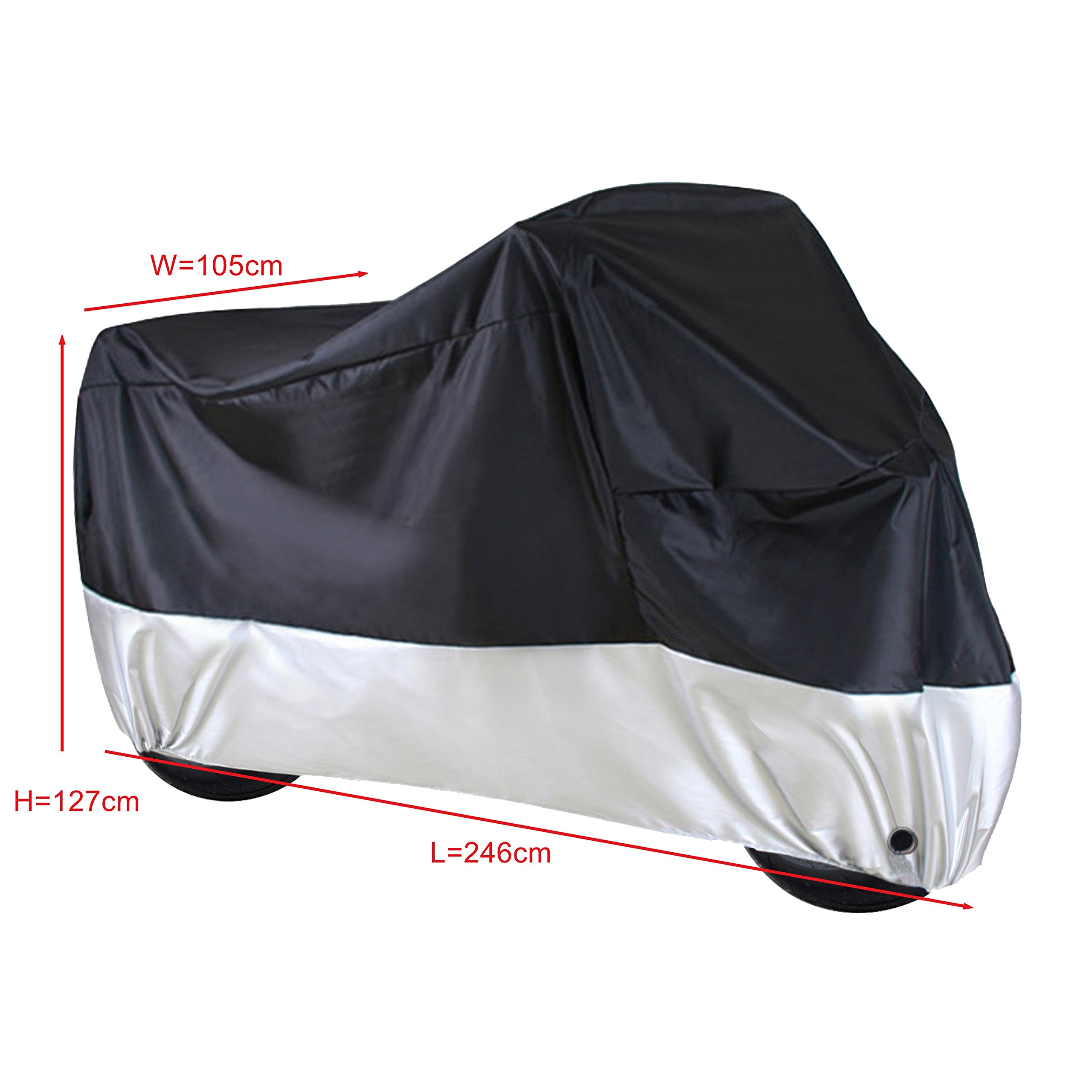 YaeTek Deluxe Motorcycle Cover, Weather Protection, UV, Air Vents, Heat Shield, Windshield Liner, Compression Bag, Grommets, Large fits Sport Bikes(XL:96''41''50'')