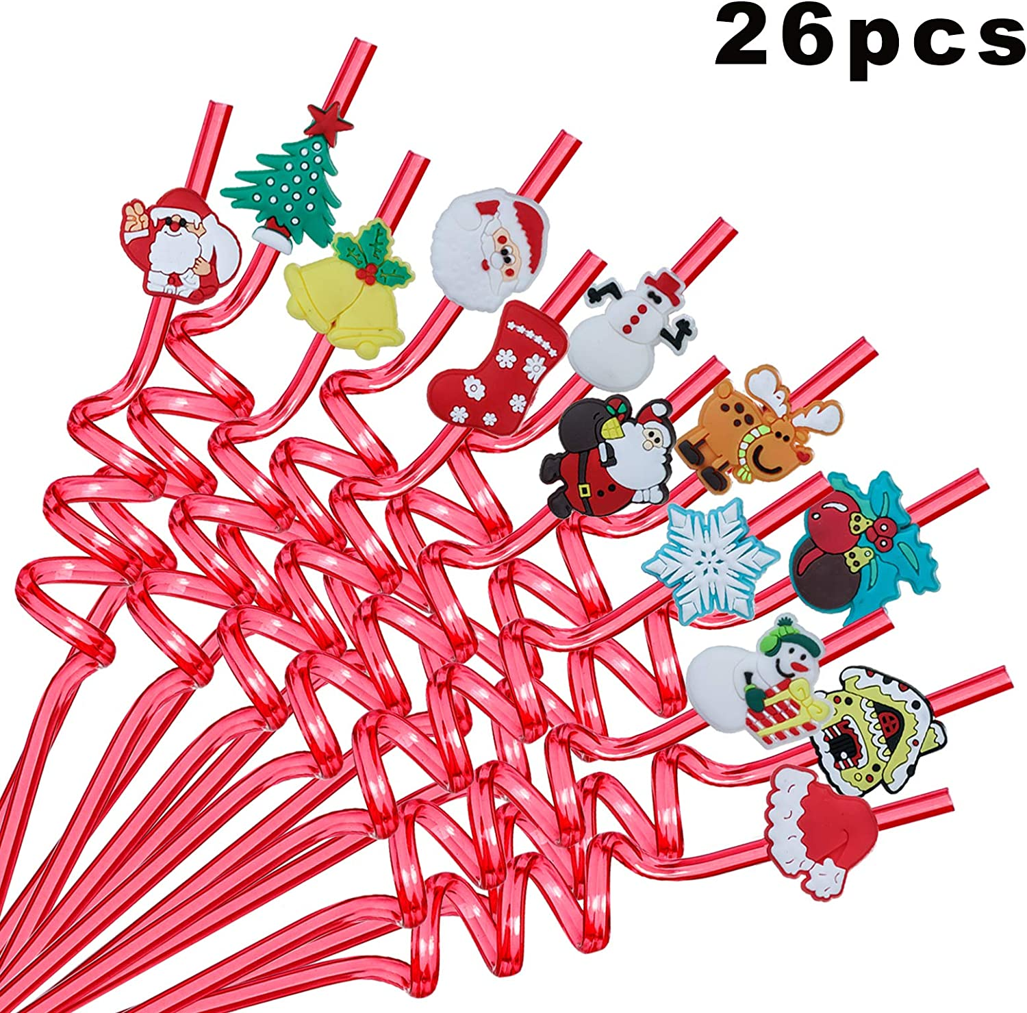 ALBABE Christmas Party Supplies 26pcs Drinking Plastic Straws Reusable 2 Cleaning Brush 50pcs Christmas Stickers Party Supplies
