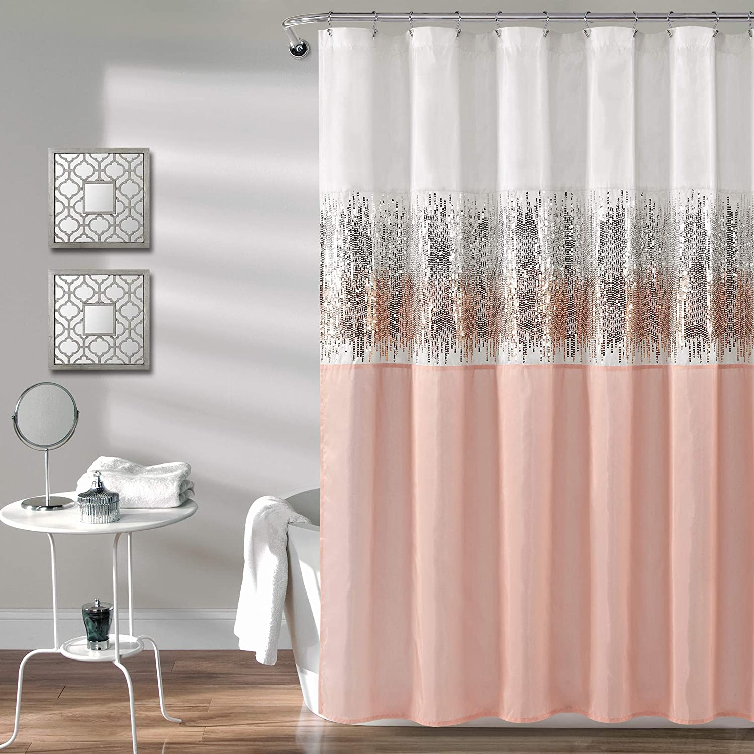 Lush Decor, White and Blush Night Sky Shower Curtain | Sequin Fabric Shimmery Color Block Design for Bathroom, x 72