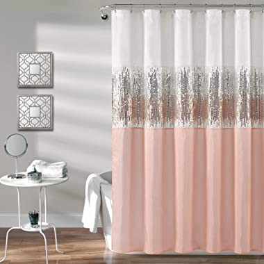 """Lush Decor Night Sky Shower Curtain   Sequin Fabric Shimmery Color Block Design for Bathroom, x 72"""", White and Blush"""