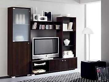 Mueble salon comedor modular con vitrina de cristal 200x180, color ...