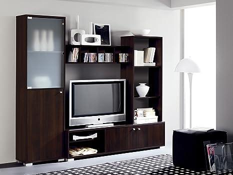 Abitti Mueble Salon Comedor Modular con Vitrina de Cristal 200x180, Color wengue