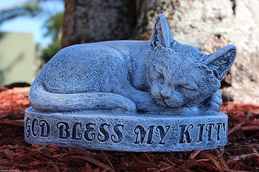 "8/"" Long Cement Lying Cat Kitten Garden Art Concrete Statue Nice Detailing"