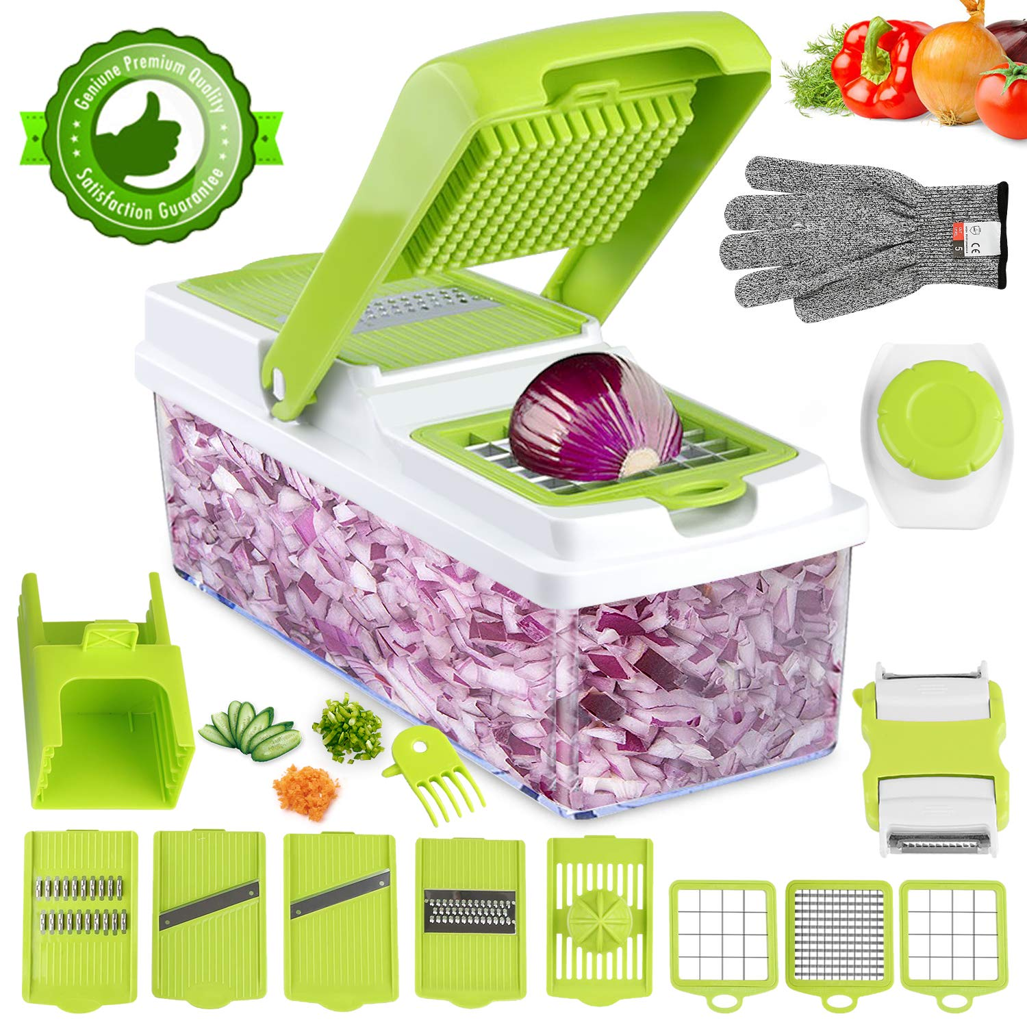 Vegetable Chopper, ONSON Food Chopper Cutter Onion Slicer Dicer, 10 in 1 Veggie Slicer Manual Mandoline for Carrot, Garlic, Cabbage, Tomato, Potato, Fruit, Salad by ONSON