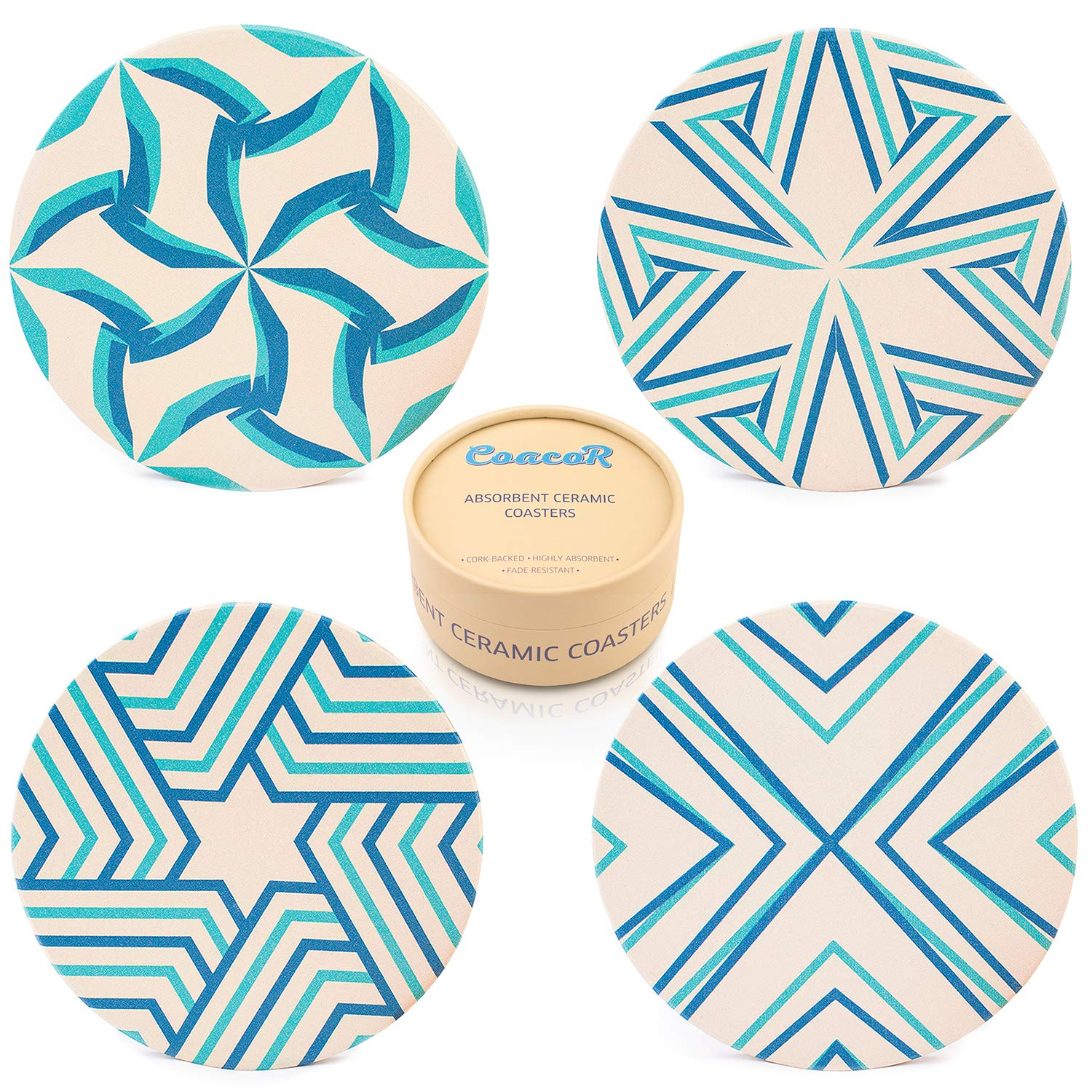 Coasters for Drinks Absorbent | Ceramic Stone | Cork Back | Set of 4 | Large 4'' | Modern Unique Designs | Turquoise - Blue Colors | Handcrafted Box | COACOR