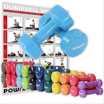POWRX - Mancuernas Vinilo 14 kg Set (2 x 7 kg) + PDF Workout (Celeste): Amazon.es: Deportes y aire libre