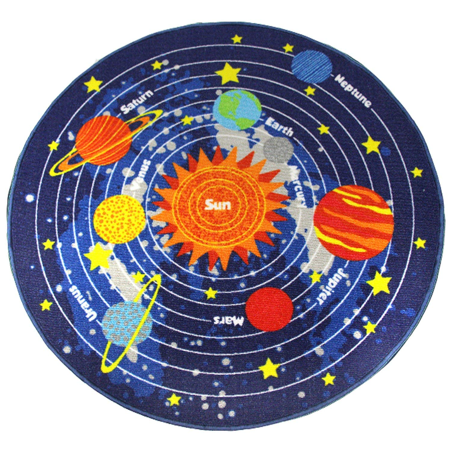 HUAHOO Blue Solar System Kids Area Rug Educational Learning Carpet Fun Rug Children Area Rug for Playroom & Nursery - Non Skid Gel Backing (55'' Round, Round Stars)