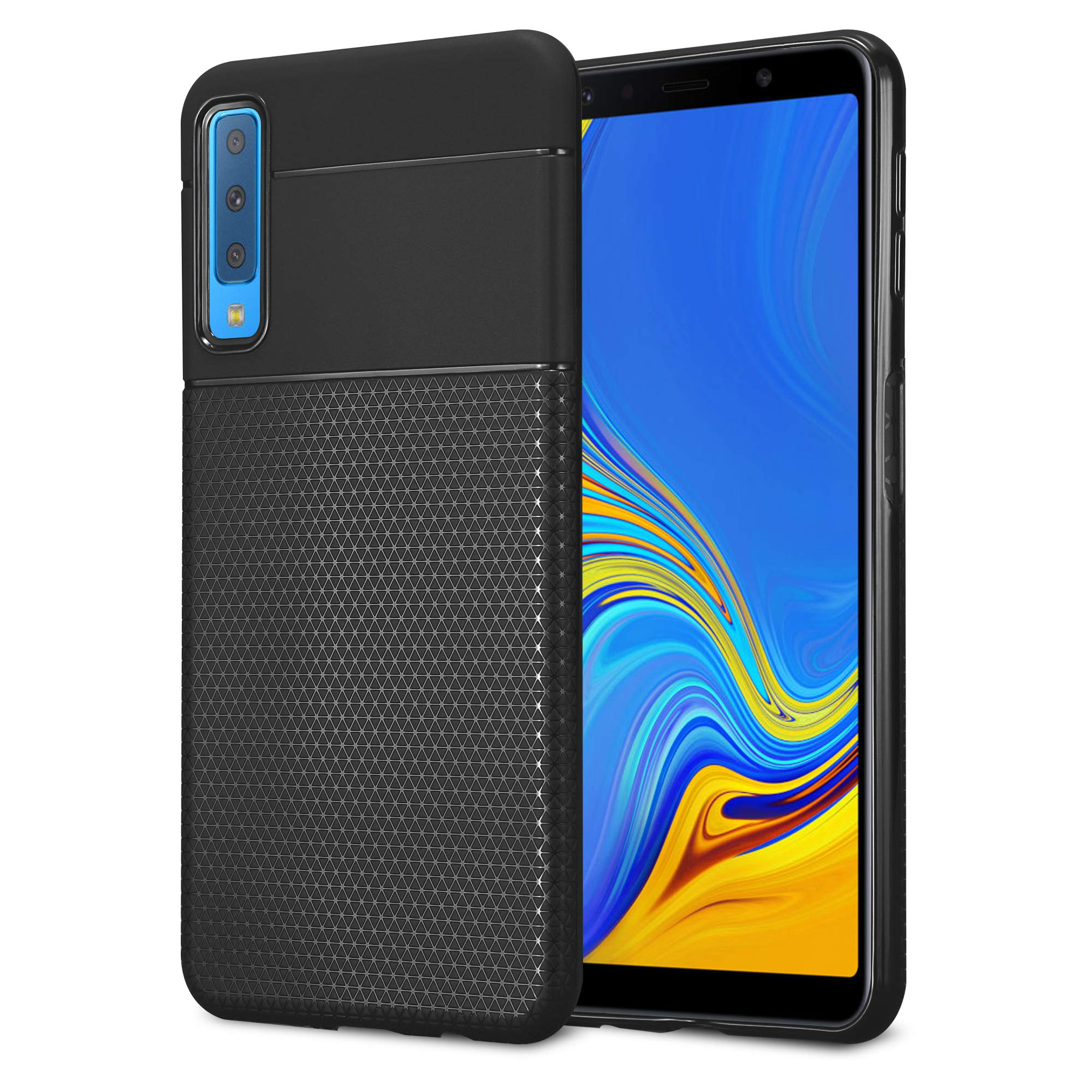 Kit Me Out World Geometric Series Case Designed for Samsung Galaxy A7 (2018) Case, Full Matte Slim Fit Flexible TPU Minimal Durable Protection Case Cover Hexagon Design (Black)