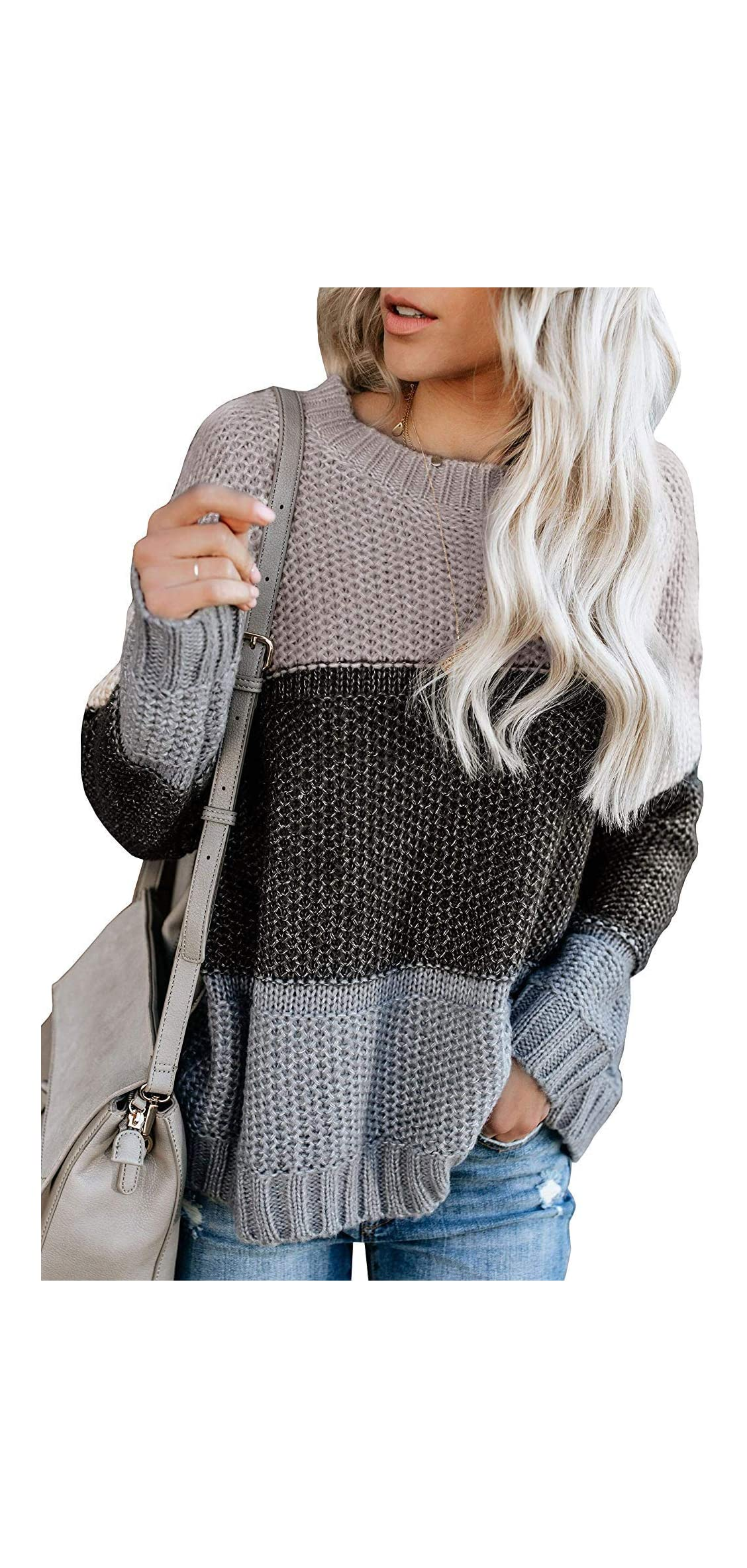 Womens Crewneck Long Sleeve Color-block Oversized Knit