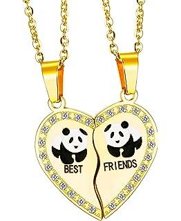 3e7ae5c1a8b7 Elegant Rose 2 piezas Best Friends Forever BFF plata corazón clave Colgante  Collar Conjunto Amistad accesorios AY732