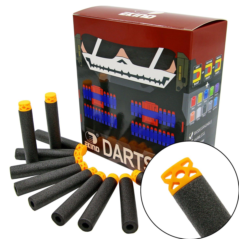 "EKIND 100 Pcs 7.2cm New Design TPR ""Waffles"" Soft Head Foam Darts for Nerf N-strike Elite AccuStrike Series Blasters Toy Gun(Black) product image"
