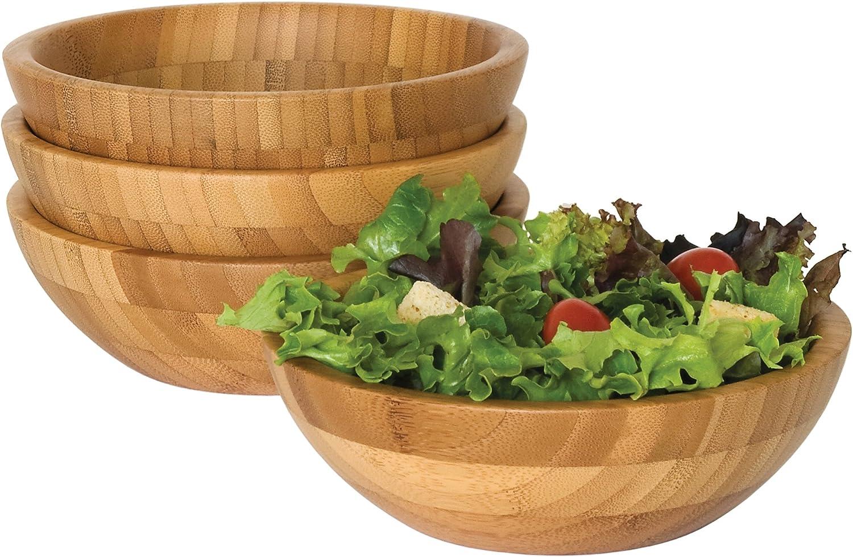 7 Diameter x 2.25 Height Lipper International 8203-4 Bamboo Wood Salad Bowls Small Set of 4 Bowls