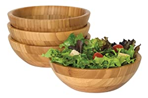 "Lipper International 8203-4 Bamboo Wood Salad Bowls, Small, 7"" Diameter x 2.25"" Height, Set of 4 Bowls"