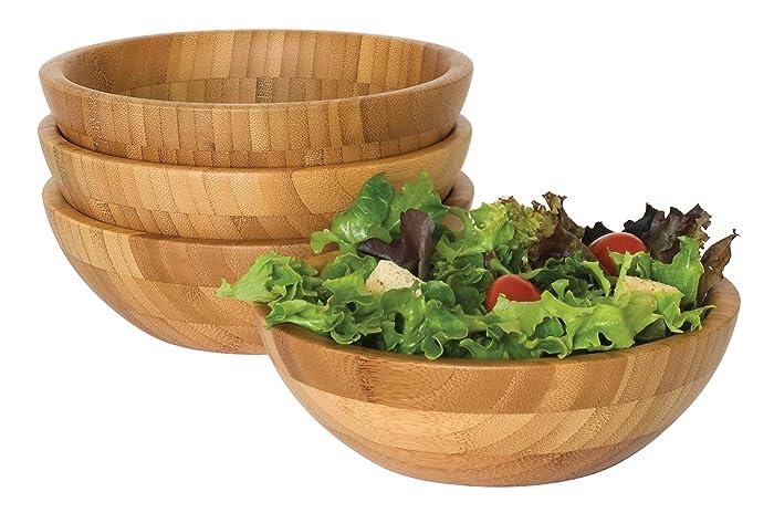 "Lipper International 8203-4 Bamboo Wood Salad Bowls, Small, 7"" Diameter x 2.25"" Height, Set of 4 Bowls"