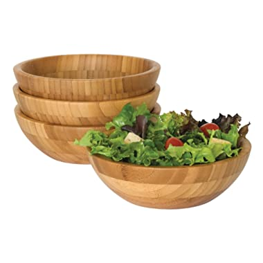 Lipper International 8203-4 Bamboo Wood Salad Bowls, Small, 7  Diameter x 2.25  Height, Set of 4 Bowls