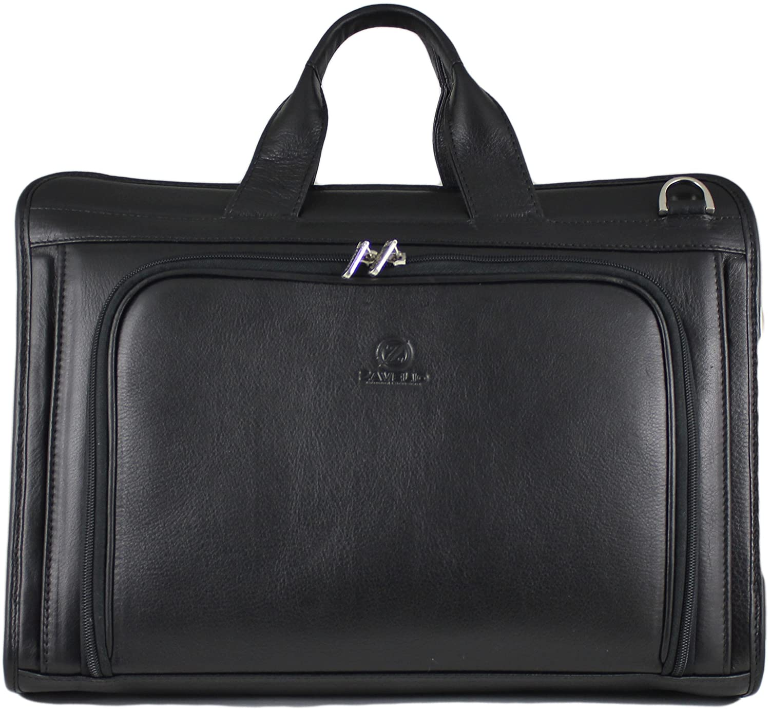 Zavelio Men's Henrik Luxury Genuine Leather Business Briefcase Messenger Bag Black