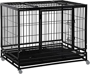 Dog Crate Cage for Large Dogs Heavy Duty 48/42/36Inches Dog Kennel Pet Playpen for Training Indoor Outdoor with Plastic Tray Double Doors & Locks Design