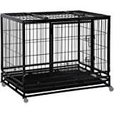 Dog Crate Cage for Large Dogs Heavy Duty 48/42/36Inches Dog Kennel Pet Playpen for Training Indoor Outdoor with Plastic…